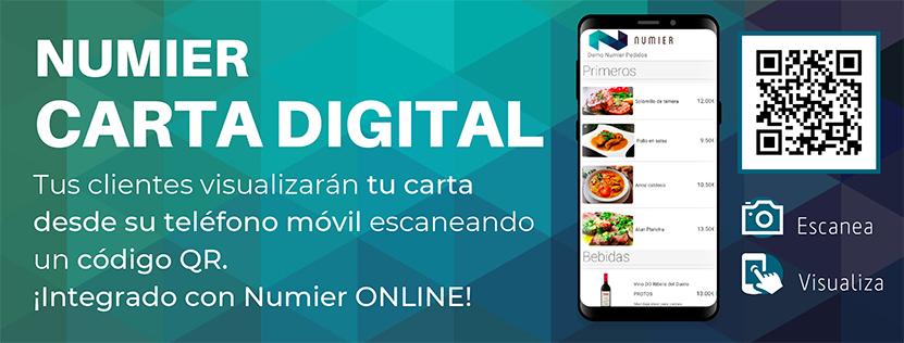 Numier CARTA DIGITAL – Tu menú digital con acceso QR desde teléfonos móviles